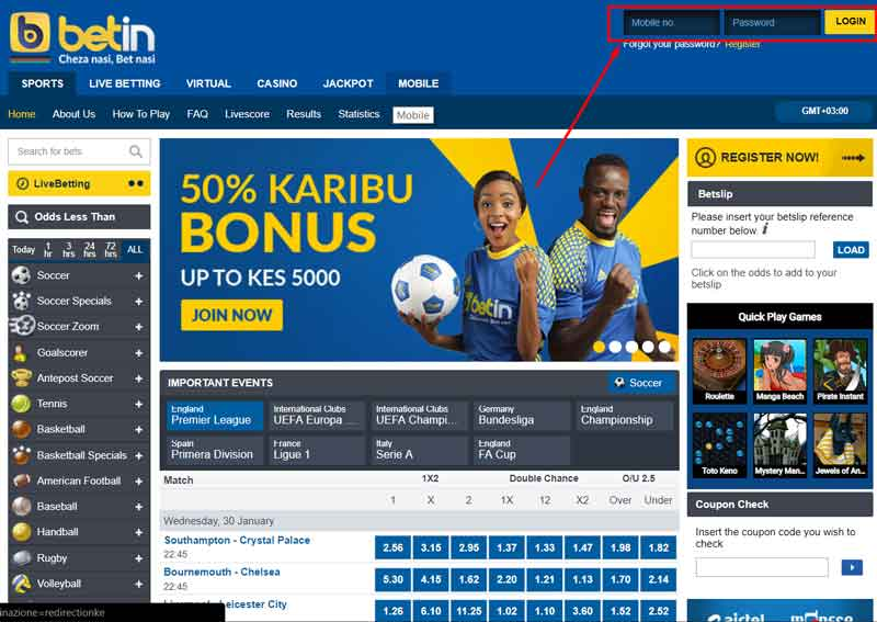betin login in kenya