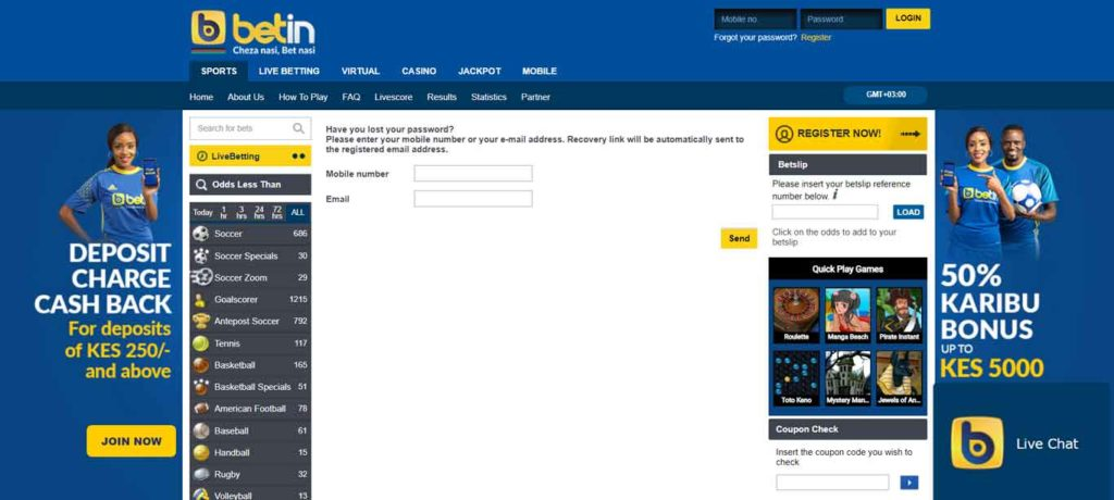 betin recover password