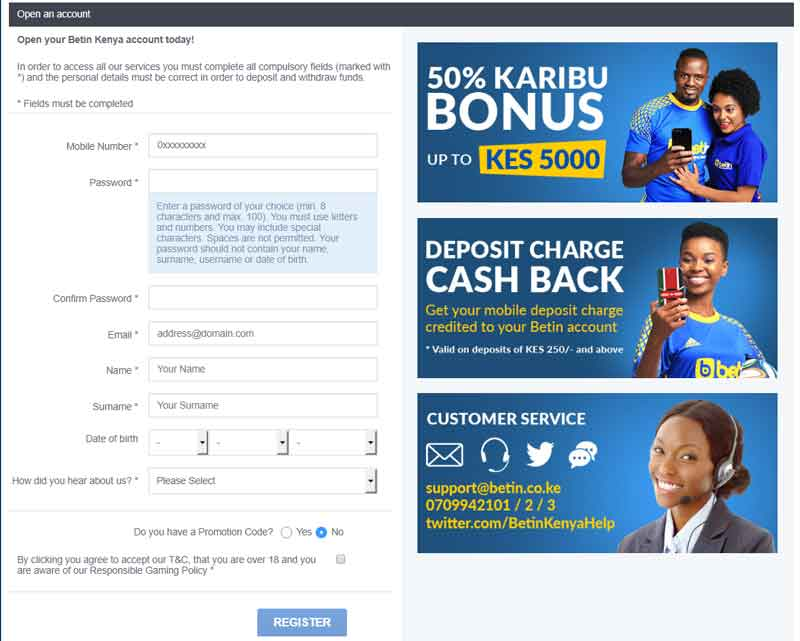 betin registration page