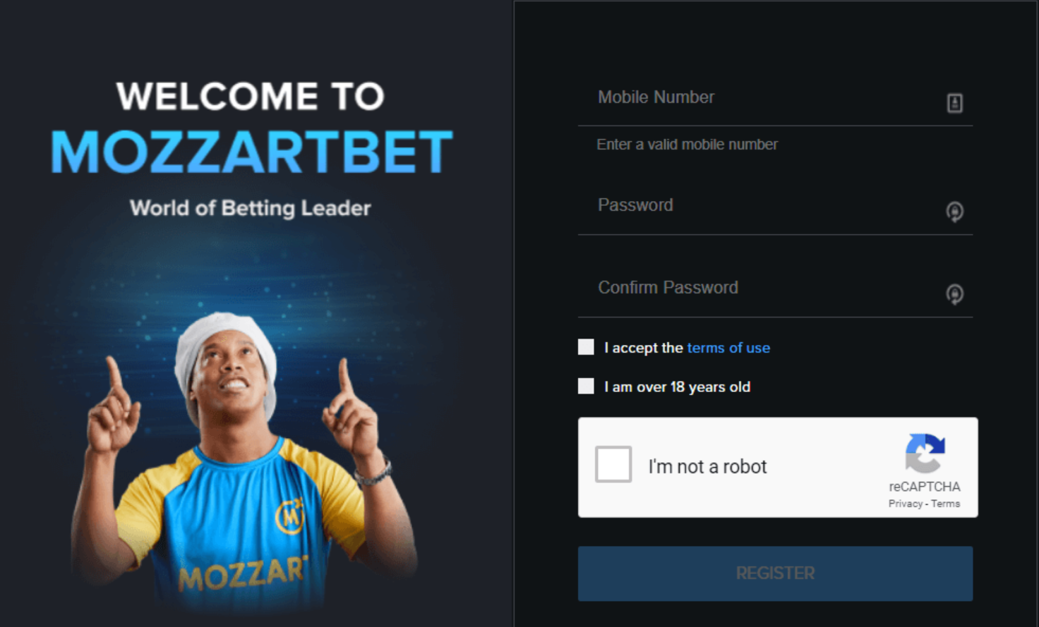 Creating a game account in Mozzart Bet Kenya: registration on the site
